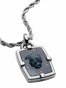 NIB Diesel DX1191040 Stainless Steel & African Blue Stone Pendant Necklace