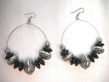 Bohemain Black Wood and Alloy Beaded Hoop Style Fashion XL Earrings