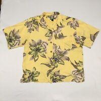 Tommy Bahama Women's Size L 100% Silk Floral Shirt Top Blouse Hawaiian Yellow
