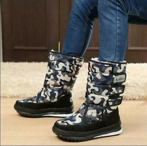 Mens Winter pull on Snow Ankle Boots Quitted Waterproof Casual Camo Shoes MOON