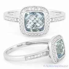 1.89ct Blue Topaz Round Cut Diamond Halo Pave Engagement Ring in 14k White Gold