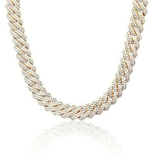 Iced Cuban Link Out Prong VVS Diamond Chain 19mm Necklace 18K Gold Plated Rapper