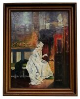 Antique Impressionist O/C Painting Victorian Woman Seated by a Fireplace, Signed