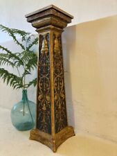 More details for highly decorative french black & gold plaster column torchiere plinth bust stand