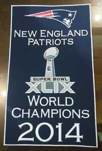 """New England Patriots Super Bowl XLIX 49 2014 World Champions 14"""" x 8.5"""" Banner"""
