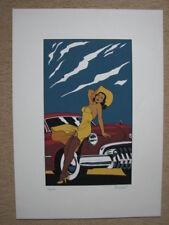 """BERTHET - SERIGRAPHIE COULEURS """"PIN-UP & CARS"""" - FEST. BD AUTOWORLD BRUXELLES"""