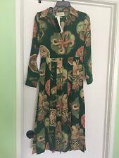 $3500 Gucci  AUTH Pleated Sea Motif Print Silk Crepe de Chine  Midi Dress