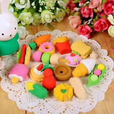 Funny Cute Food Rubber Pencil Eraser Set Stationery Novelty Children Party GiftV