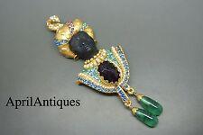 Askew London blackamoor green glass jewelled gold-plated brooch