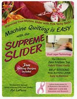 "Supreme Slider 11.5"" x 8"" For Free Motion Quilting Free Quilting Designs Pink"