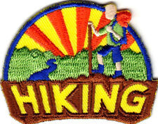 """HIKING""  Iron On Patch Scouts Hiker Cib Girl Boy Outdoors"