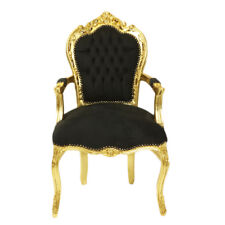 CHAIRS FRANCE BAROQUE STYLE DINING ROYAL CHAIR WITH ARMRESTS GOLD / BLACK #70F31