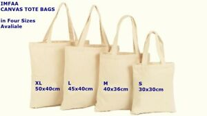 Pack of 5 & 10 100% cotton Tot Canvas Reusable Hand/Shoulder shopping Bags