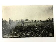 Antique WW1 Rare Postcard - English Tanks & American Infantory In Action