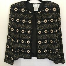 Vintage Adrianna Papell Womens Beaded Evening Jacket Petite Large Black Gold
