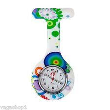 Silicone Nurse Watch Brooch Pocket Tunic Quartz Movement Round Watches FOB White