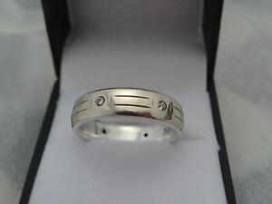 Novell  935 argentium silver /14k White Gold 6mm Men's Band Ring Comfort Fit  10