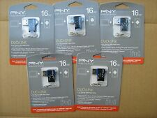 Lot of 5 PNY 16GB OTG Duo-Link Flash Drive FDI16GOTGOU1K-EF USB Micro On-The-Go