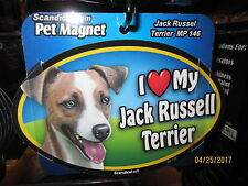 I Love My Jack Russelll 6 inch oval magnet for car or anything metal New
