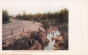 Boulevard Drive Through Lincoln Park, Duluth, Minnesota, Early Postcard, Unused