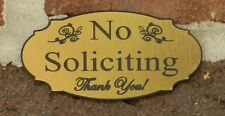 "Elegant No Soliciting Sign Home Door Bell Plaque Sign - Brushed Gold 2"" X 4"""