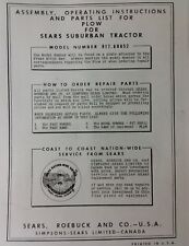 Sears Suburban Custom Garden Tractor Plow 3 Point Disc Owner Parts 3 Manuals