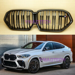 Fit BMW X6 G06 X-Series ABS Front Kidney Grille M Style Gloss Black 2020up SUV