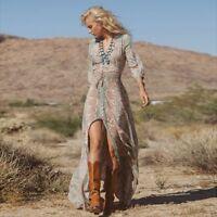 Vestido Bohemio largo chifon raso Summer Casual Chiffon Floral Maxi Long Dress