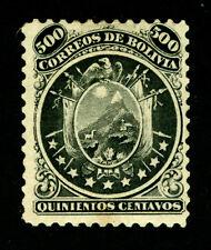 BOLIVIA  1868  CONDOR  500c black  Sc# 14 mint MH - VF centering - RARE