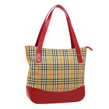 BURBERRY'S House Check Hand Tote Bag Beige Red Canvas Leather Vintage O03103