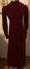 Vintage 60s Velvet Maxi Dress Romantic Victorian Puff Sleeve XS Medieval