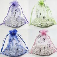 25/50/100Pcs Silver Butterfly Print Organza Pouch Wedding Favors Bags 9x7/12x9cm