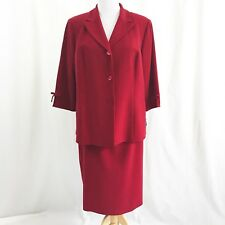 Le Suit Woman 2 Piece Red Skirt Blazer Plus Size 18W New 3/4 Sleeve