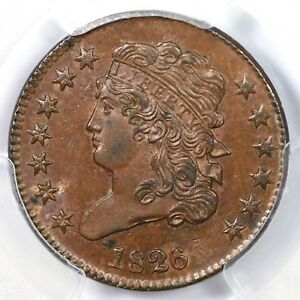 1826 C-1 PCGS MS 64 BN Classic Head Half Cent Coin 1/2c