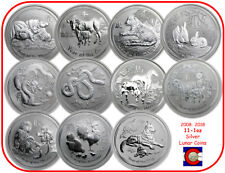 2008-2018 Australia Silver 1 oz Lunar Set 11 Coins, Mouse-Dog with display box