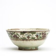 ANTIQUE MIDDLE EASTERN FLORAL PAINTED POTTERY BOWL 19TH C.