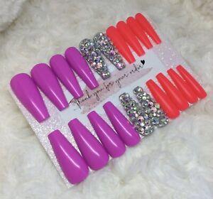 LMT EDT Purple Pink Diamante False Press On XL Ballerina Nails Set