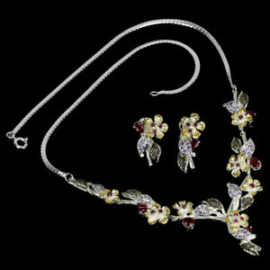 REAL RED RUBY, PURPLISH PINK RHODOLITE & CZ STERLING 925 SILVER FLOWER SET 17.5""