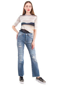 RRP €285 ACYNETIC Jeans Size 29 Ripped Style Garment Dye Patched Made in Italy