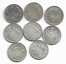 8 Assorted Canadian Silver 50-Cent Half Dollar Coins