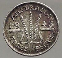 1943 AUSTRALIA - Threepence SILVER Coin - UK King George VI Wheat Stalks i57090