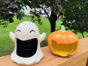 Target Halloween Ceramic Candy Dish Ghost Pumpkin **NEW** *Bullseye Playground