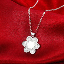 Wholesale 925 Sterling Silver Filled Clear Zircon Crystal Flower Pendant Necklac