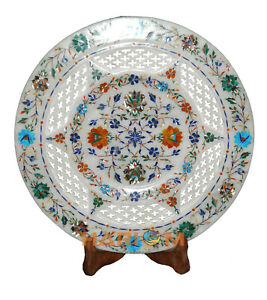 "13"" Marble Serving Plate Lattice Handmade Multi Floral Inlay Art Wall Decor P044"