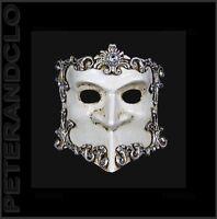 Maschera Di Venezia Bauta Barocco Argentato E Bianco Autentica Veneziano 533