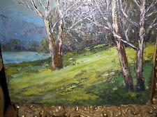 """Fern Haselton: Rockport,Mass. Sch.: 1960: """"Vermont Wooden Glade:"""" O/CB-12x16 WOW"""