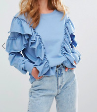 Pull&Bear Exaggerated Frill Sweat Top (T40) RRP £27.99 UK Small - Blue