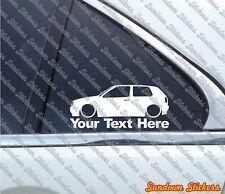 2x Custom YOUR TEXT Low car sticker - for VW Golf Mk3 VR6 / GTi 3-DOOR | retro
