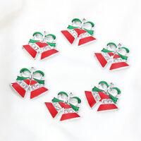 10X Christmas Red Oil Drip Jingle Bells Charm Pendant DIY Jewelry Craft Making