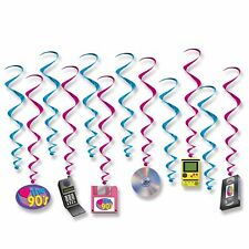 I LOVE THE 90'S PACK OF 12 HANGING WHIRLS PARTY DECORATIONS